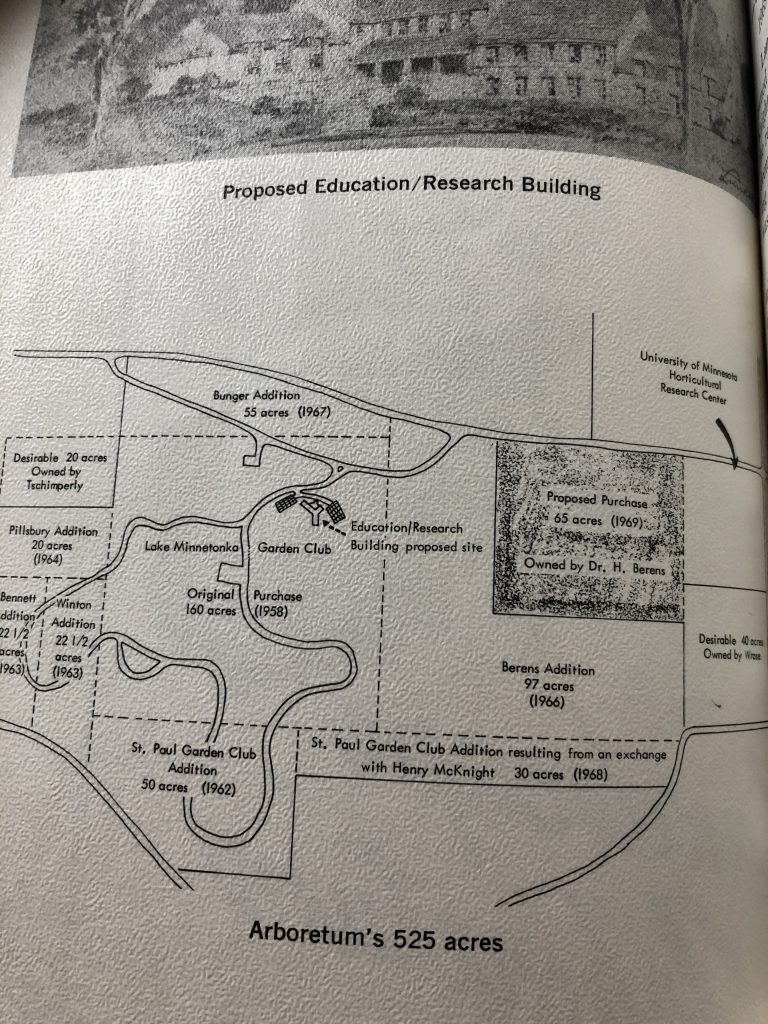 The 1969 Annual Report back cover drawing of Arboretum map with the St Paul Garden Club donation for the new land accession, which enabled the planting of the Hedge Display.