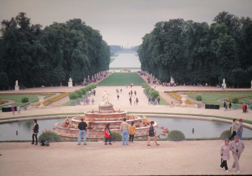 Versailles gardens viewed from the back steps of the palace in 1997.